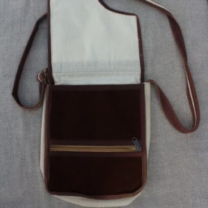 Hemp shoulder bag brown/white